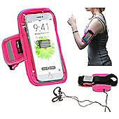 Navitech Pink Running / Jogging / Cycling Water Resistant Sports Armband For The iPhone 8