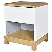 Oslo 1 Drawer Bedside White / Oak