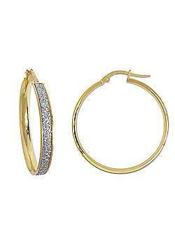 Ladies 9ct Yellow Gold MoonDust StarDust Hoop Earrings 25mm