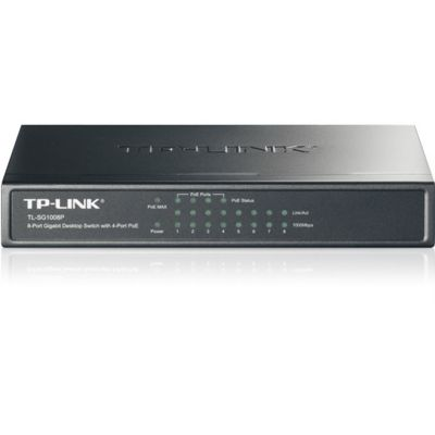 TP-Link TL-SG1008P 8-Port Gigabit Desktop Switch with 4-Port PoE (Black)
