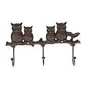 Homescapes Brown Cast Iron Decorative Owl Wall Mounted Hooks