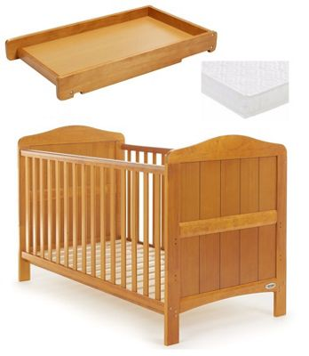 Obaby Whitby Cot Bed/Mattress/Cot Top Changer - Country Pine