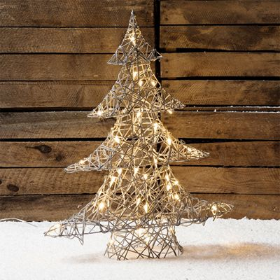 Regular Grey Wicker Light Up LED Christmas Tree