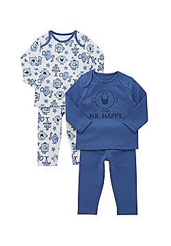 Mr. Men 2 Pack of Mr Happy Pyjamas - Blue