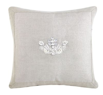 Decorative Taupe Linen and Gemstone Small Cushion Embroidery Design