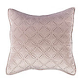 Homescapes Luxury Dusky Pink Quilted Velvet Cushion Cover Geometric 'Eternity Ring' Pattern, 45 x 45 cm