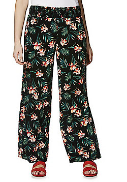 F&F Tropical Print Wide Leg Trousers - Multi