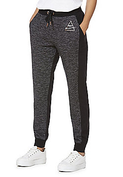 F&F Active Marl Panel Slogan Joggers - Grey