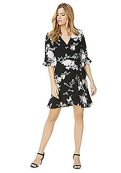 F&F Floral Print Wrap Dress - Black & Multi