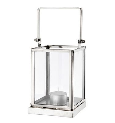 Canvey Square Tea Light Candle Glass Lantern with Handle