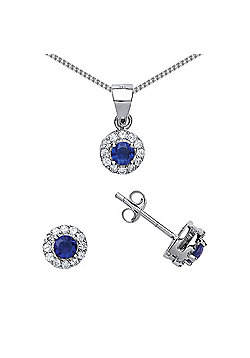Rhodium Plated Sterling Silver Blue and White Round Brilliant Cubic Zirconia Halo Necklace 18 inch
