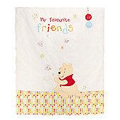 Obaby Disney Winnie the Pooh Crib/Moses Basket Fleece Blanket in White - White