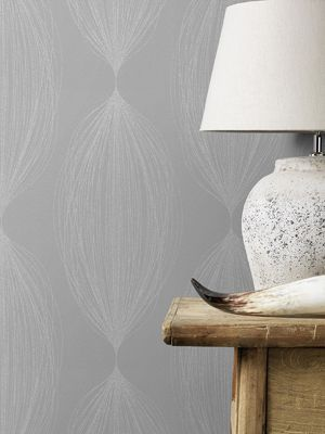 Sparkling Glitter Linear Leaf Wallpaper Taupe / Silver Rasch 523430