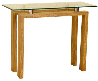 Adina Clear Glass and Oak Effect Console Table