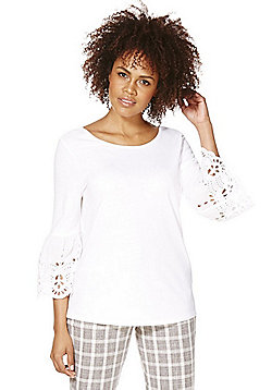 F&F Broderie Anglaise Detail Bell Sleeve Top - White