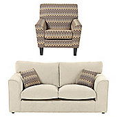 Hardy Accent Chair + 2.5 Seater Sofa Set, Taupe