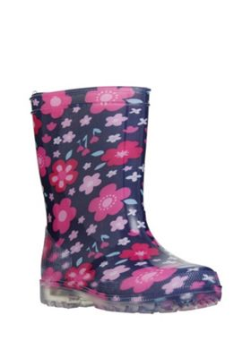F&F Floral Light-Up Wellies 10 Child Navy