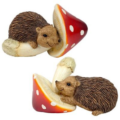 Set of 2 Hedgehogs on Mushrooms Garden Ornaments
