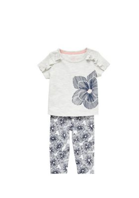 F&F Floral T-Shirt and Leggings Set Multi 0-1 months