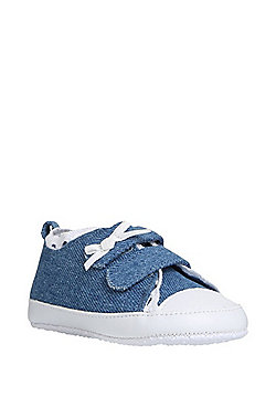 F&F Broderie Anglaise Trim Chambray Trainers - Denim blue