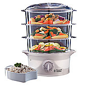 Russell Hobbs 3 Tier Food Steamer, 9L - White
