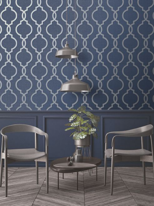 Laticia Geometric Trellis Navy Blue and Silver Wallpaper Holden Decor 65493