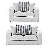 Wrayton Scatterback 2 Seater + 2.5 Seater Sofa Set, Grey