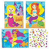 Mermaid Mosaic Sticker Picture Kits for Children to Design Make and Display - Creative Summer Craft Set for Kids (Pack of 4)
