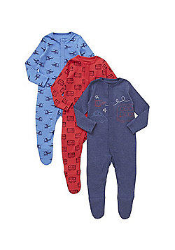 F&F 3 Pack of Transport Print Sleepsuits - Red