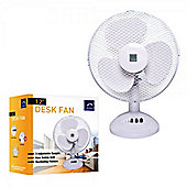 "12"" Desk 3 Speed Tilt and Oscillating Quiet Cooling Fan White for Office Home Work Shed"