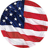 USA American Flag Plates - 26.6cm Paper Party Plates, Pack of 8