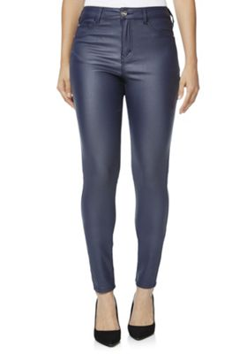 d66efe108669 F&F Coated Mid Rise Skinny Jeans 10 Regular leg Navy Catalogue Number:  662-8725