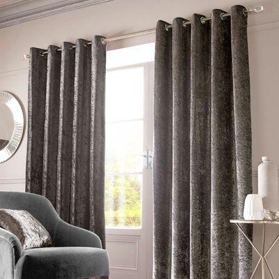 Buy Crushed Velvet Pair Fully Lined Eyelet Curtains