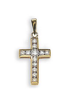 Jewelco London 18 Carat Yellow Gold 44pts Diamond Cross
