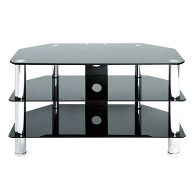 LEVV Universal Black and Chrome TV Stand For up to 37 inch TVs