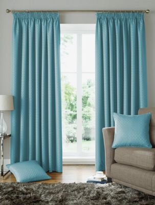 Alan Symonds Lined Solitaire Duck Egg Pencil Pleat Curtains - 46x90 Inches (117x229cm)