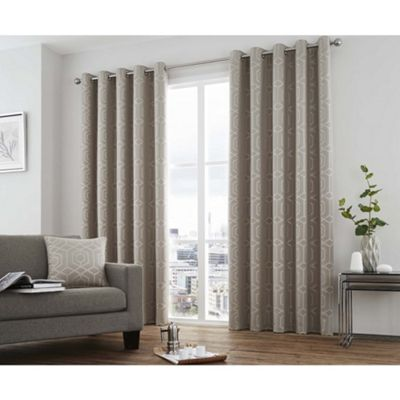 Curtina Camberwell Stone Eyelet Curtains - 90x90 Inches (229x229cm)