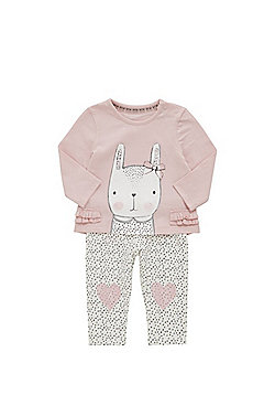 F&F Bunny Print Long Sleeve T-Shirt and Leggings Set - Pink & Cream
