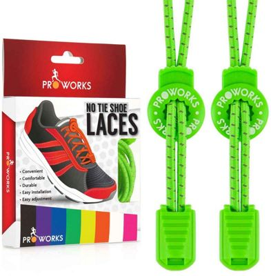 ProWorks No Tie Green Reflective Shoe Laces