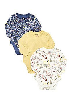 F&F 3 Pack of Woodland Print Long Sleeve Bodysuits - Multi