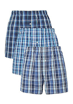 F&F 3 Pack of Checked Woven Boxer Shorts - Blue