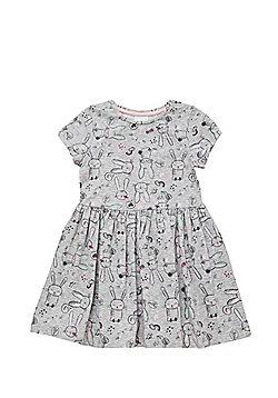 F&F Bunny Print Flared Jersey Dress - Marl grey