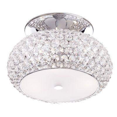 Litecraft Boston 6 Bulb Diamante Semi Flush Ceiling Light, Chrome