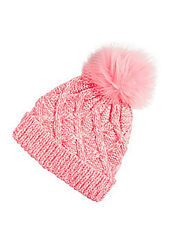 F&F Cable Knit Bobble Hat - Neon pink