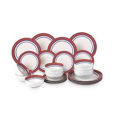 24 Piece Nautical Stripe Porcelain Dinner Set