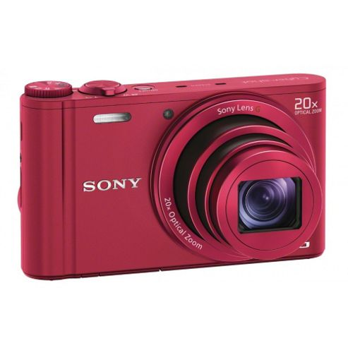 Sony DSC-WX300 Digital Camera, Red, 182MP, 20x Optical Zoom, 3 LCD Screen, Wi-Fi