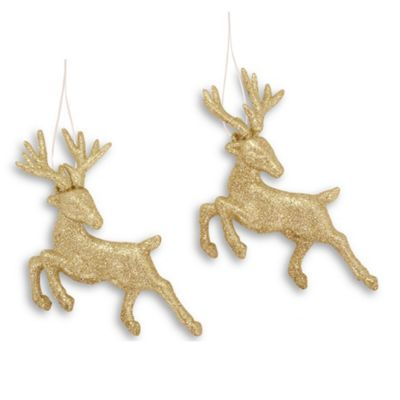 Set Of Two Hanging Glitter Reindeer Christmas Decorations