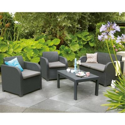 buy keter allibert carolina lounge set from our plastic garden furniture range tesco. Black Bedroom Furniture Sets. Home Design Ideas