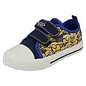 Despicable Me Minions Ronskley Blue and Yellow Hook and Loop Canvas Trainers UK Sizes 6 - 12 - Blue