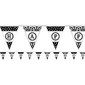 Black Damask Personalisable Bunting - Paper 7.9m
